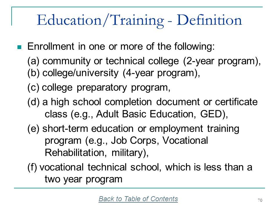 Education/Training - Definition