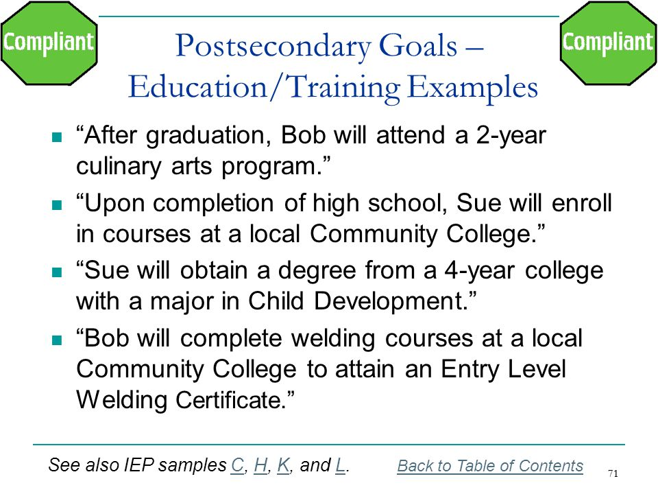 Postsecondary Goals – Education/Training Examples