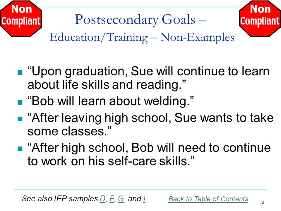 Postsecondary Goals – Education/Training – Non-Examples