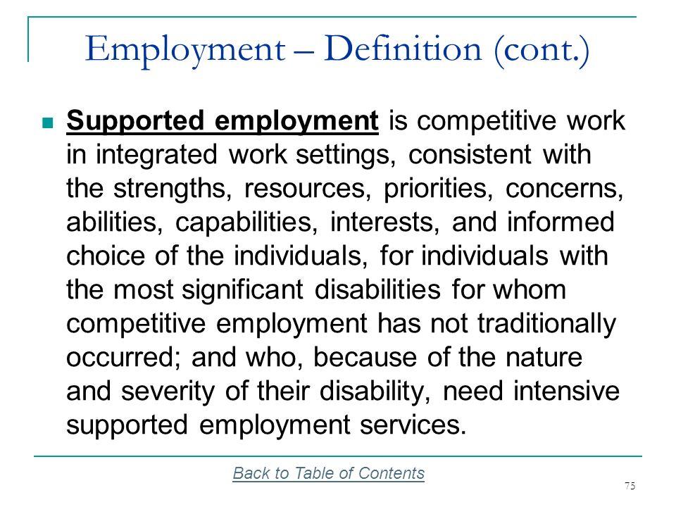 Employment – Definition (cont.)