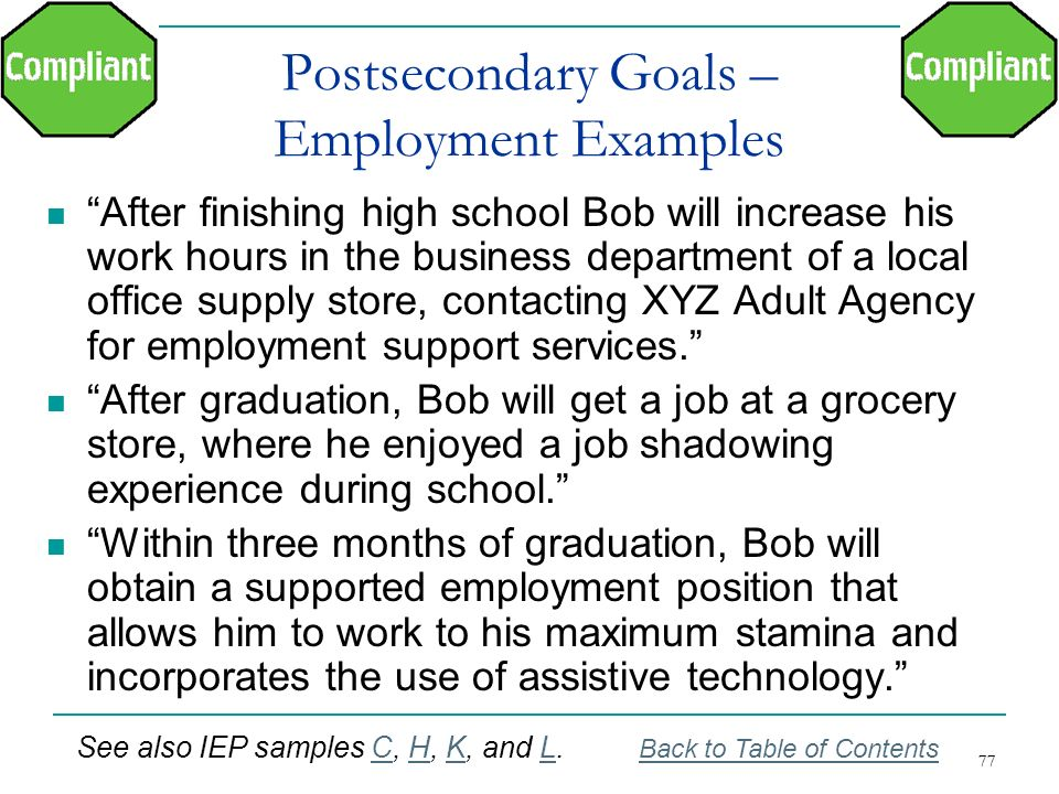 Postsecondary Goals – Employment Examples