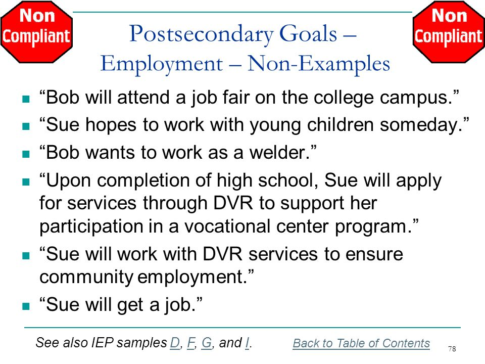 Postsecondary Goals – Employment – Non-Examples