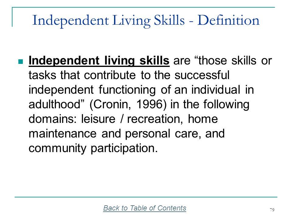 Independent Living Skills - Definition