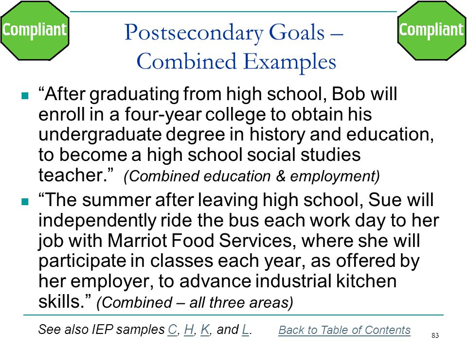 Postsecondary Goals – Combined Examples