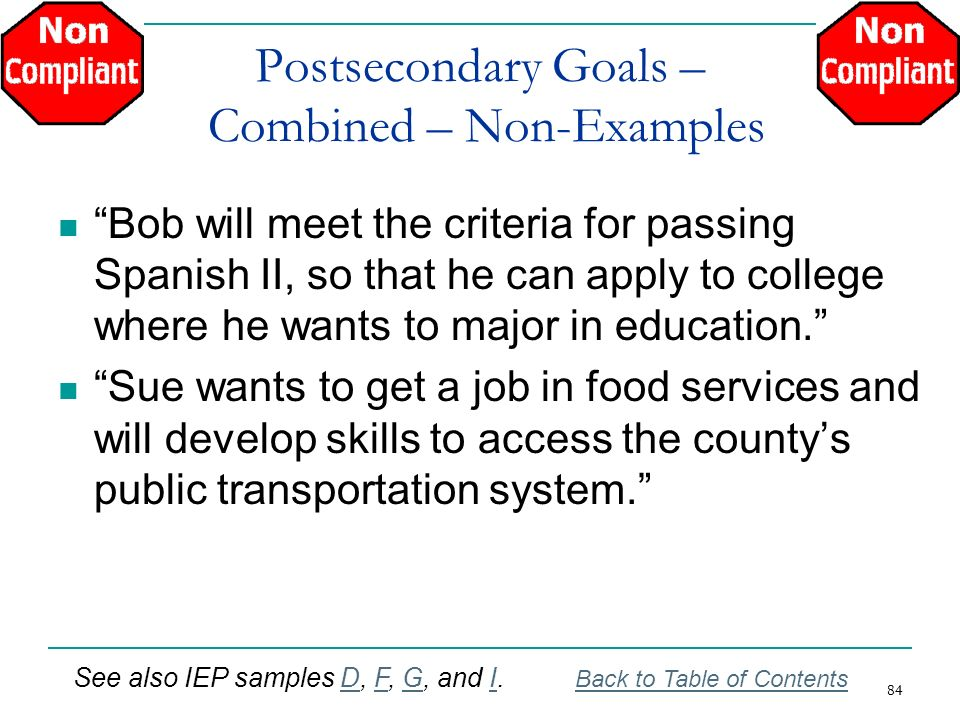 Postsecondary Goals – Combined – Non-Examples