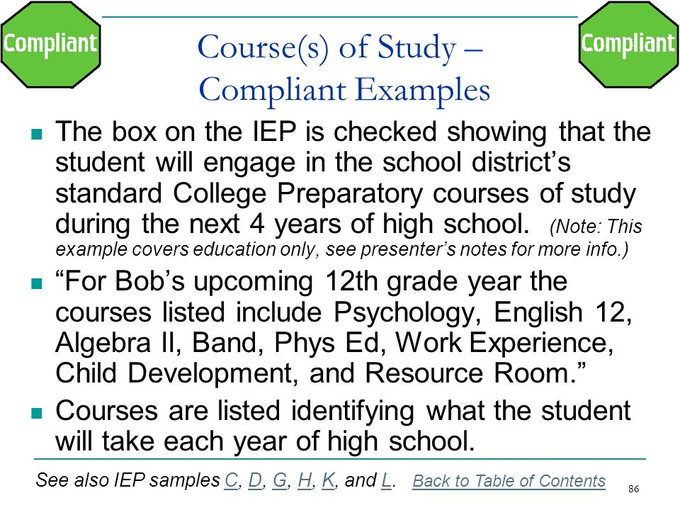Course(s) of Study – Compliant Examples