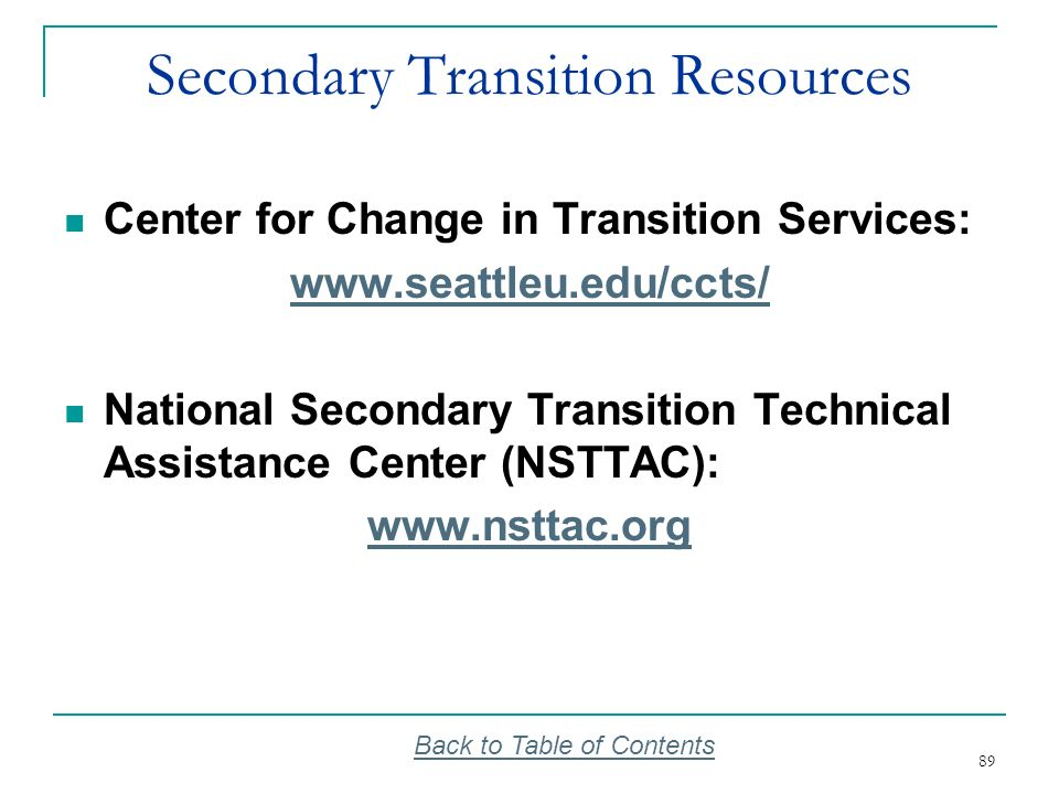 Secondary Transition Resources