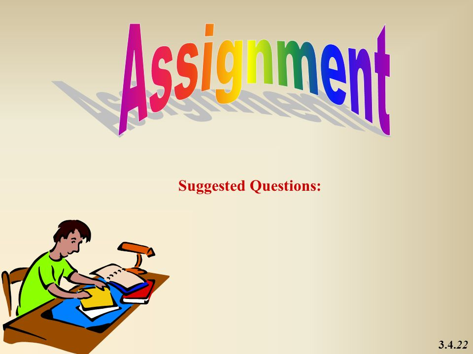 Assignment Suggested Questions: