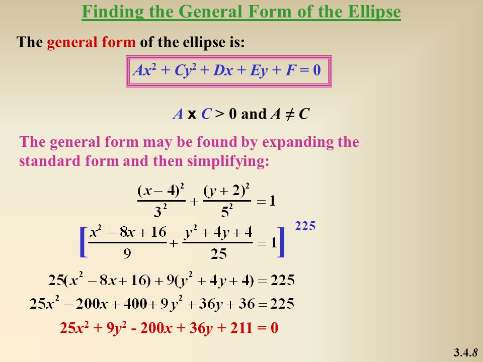 [ ] Finding the General Form of the Ellipse