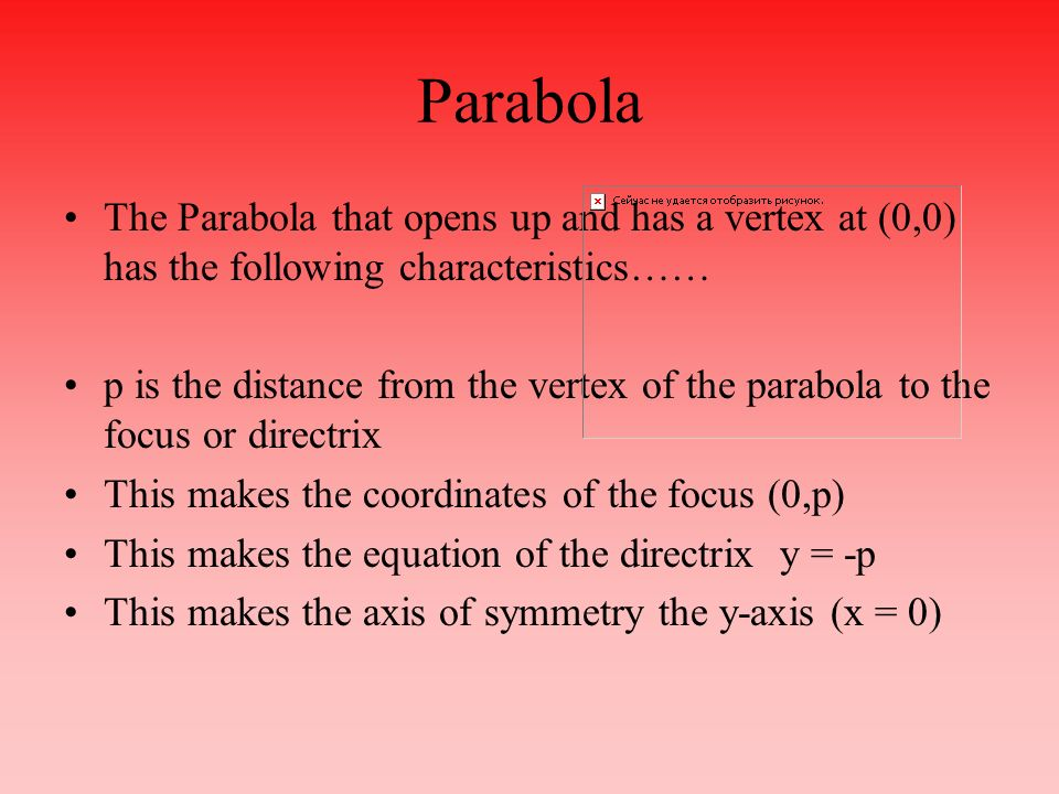 Parabola The Parabola that opens up and has a vertex at (0,0) has the following characteristics……