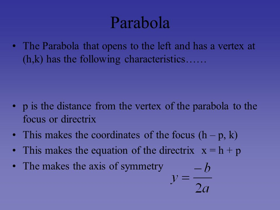 Parabola The Parabola that opens to the left and has a vertex at (h,k) has the following characteristics……