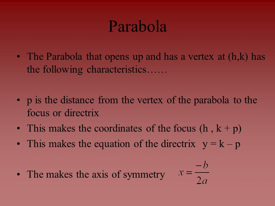 Parabola The Parabola that opens up and has a vertex at (h,k) has the following characteristics……