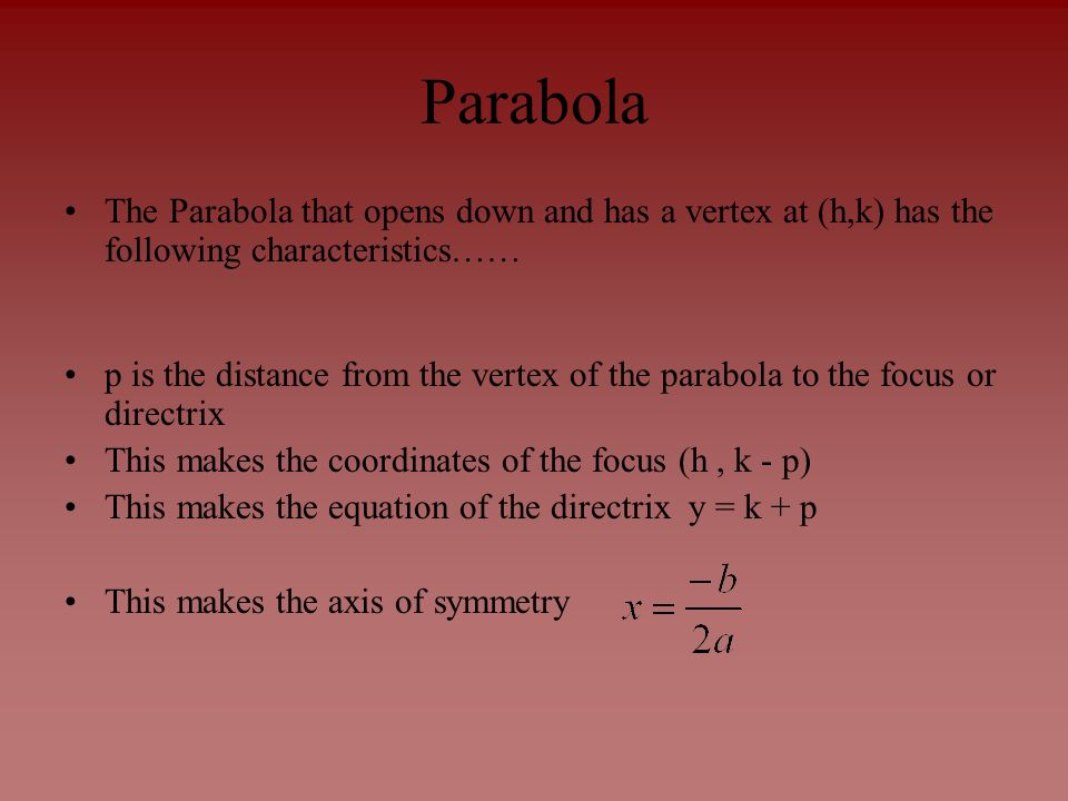 Parabola The Parabola that opens down and has a vertex at (h,k) has the following characteristics……