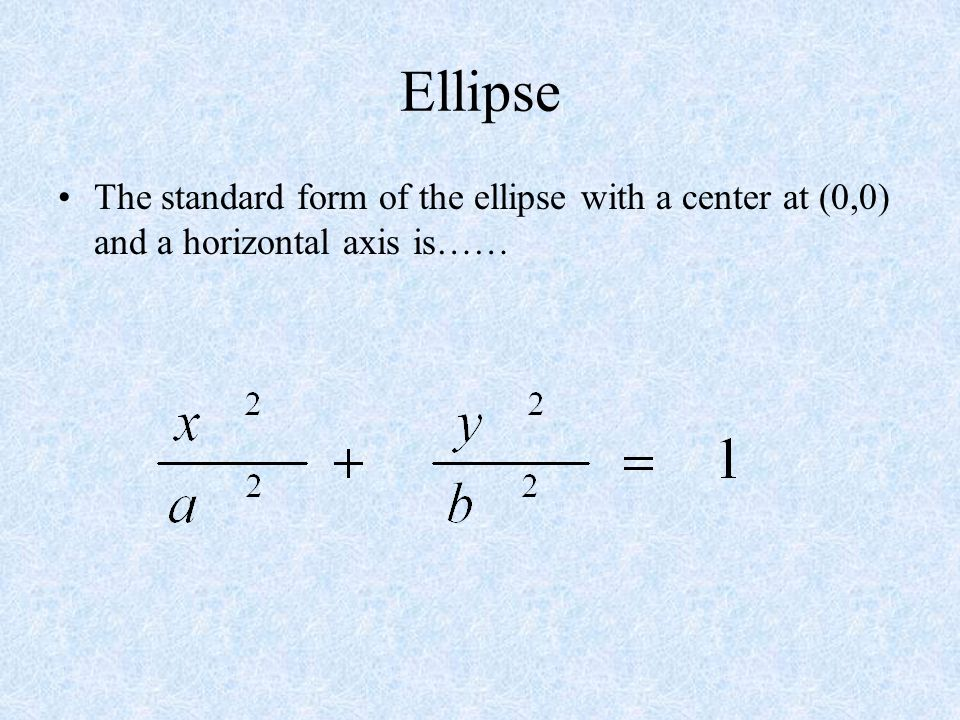 Ellipse The standard form of the ellipse with a center at (0,0) and a horizontal axis is……