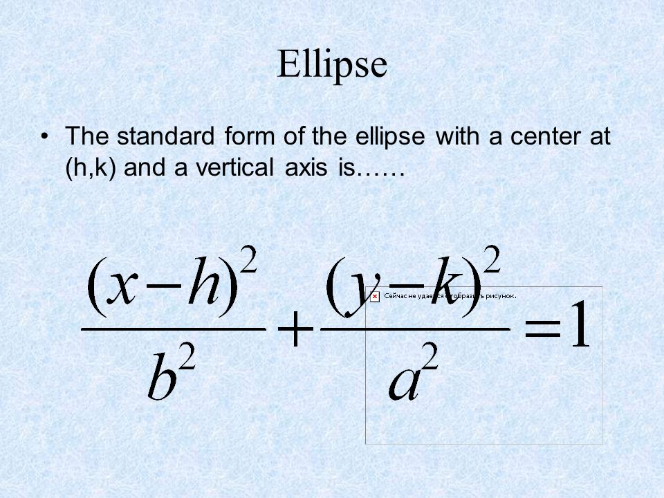 Ellipse The standard form of the ellipse with a center at (h,k) and a vertical axis is……