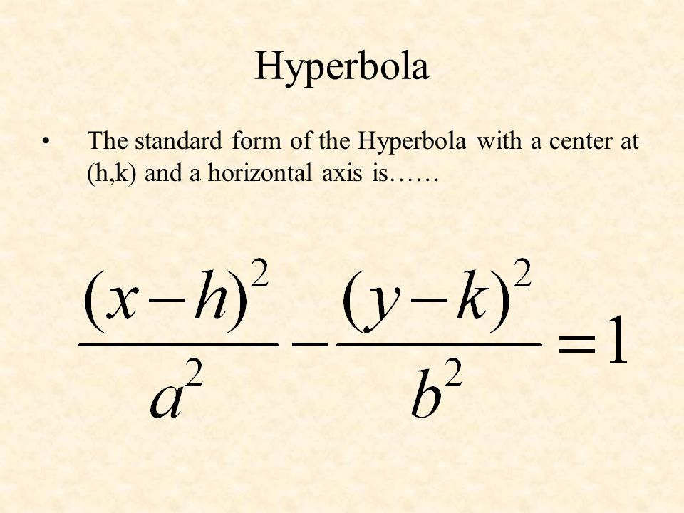 Hyperbola The standard form of the Hyperbola with a center at (h,k) and a horizontal axis is……
