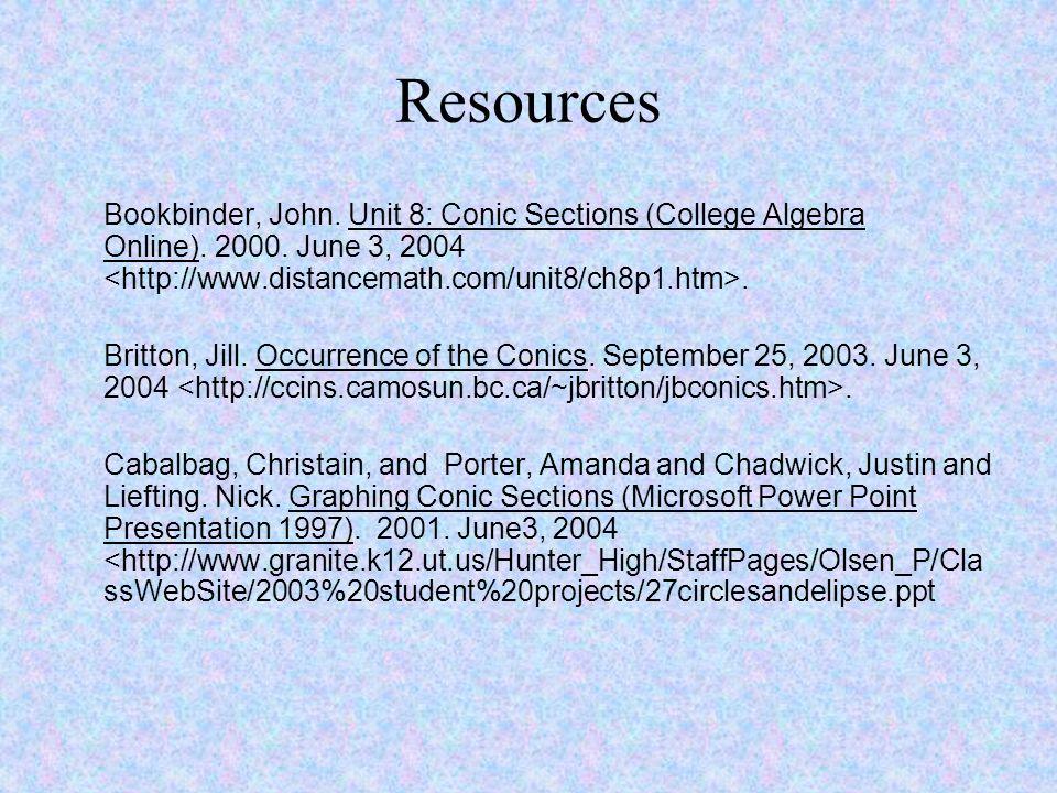 Resources Bookbinder, John. Unit 8: Conic Sections (College Algebra Online). 2000. June 3, 2004 <http://www.distancemath.com/unit8/ch8p1.htm>.