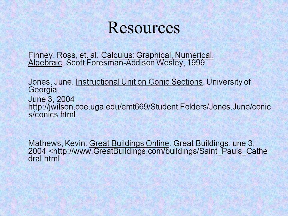 Resources Finney, Ross, et. al. Calculus: Graphical, Numerical, Algebraic. Scott Foresman-Addison Wesley, 1999.