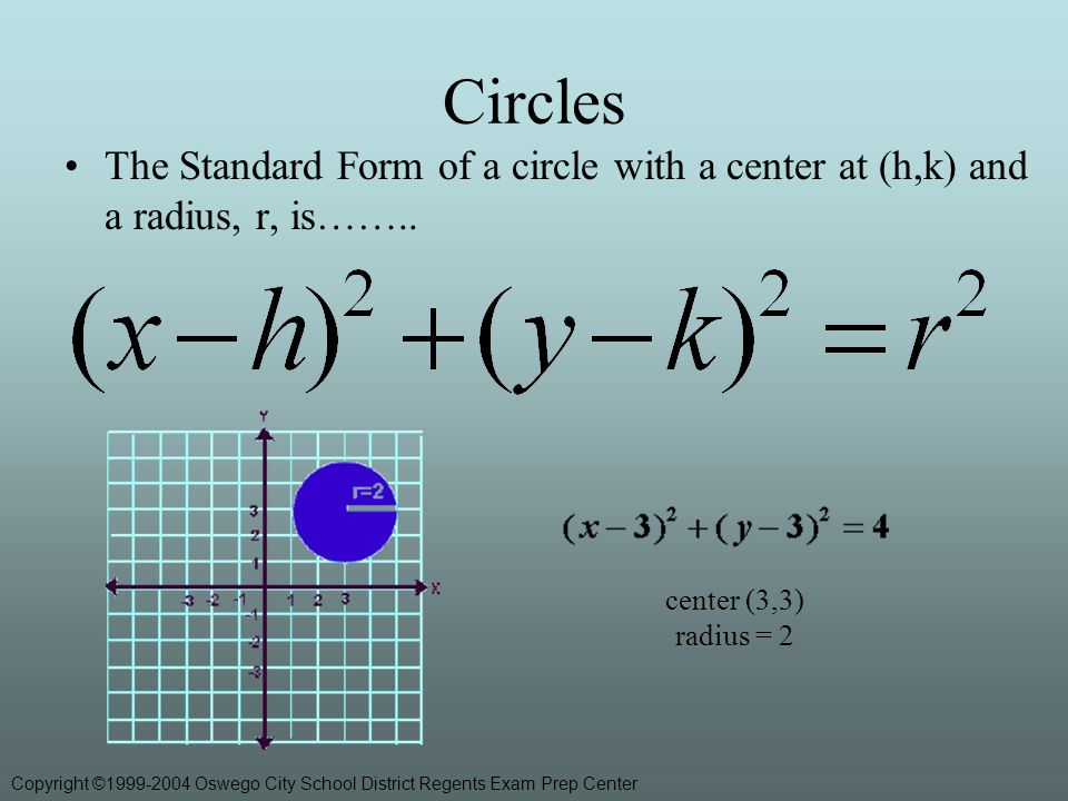 Circles The Standard Form of a circle with a center at (h,k) and a radius, r, is……..