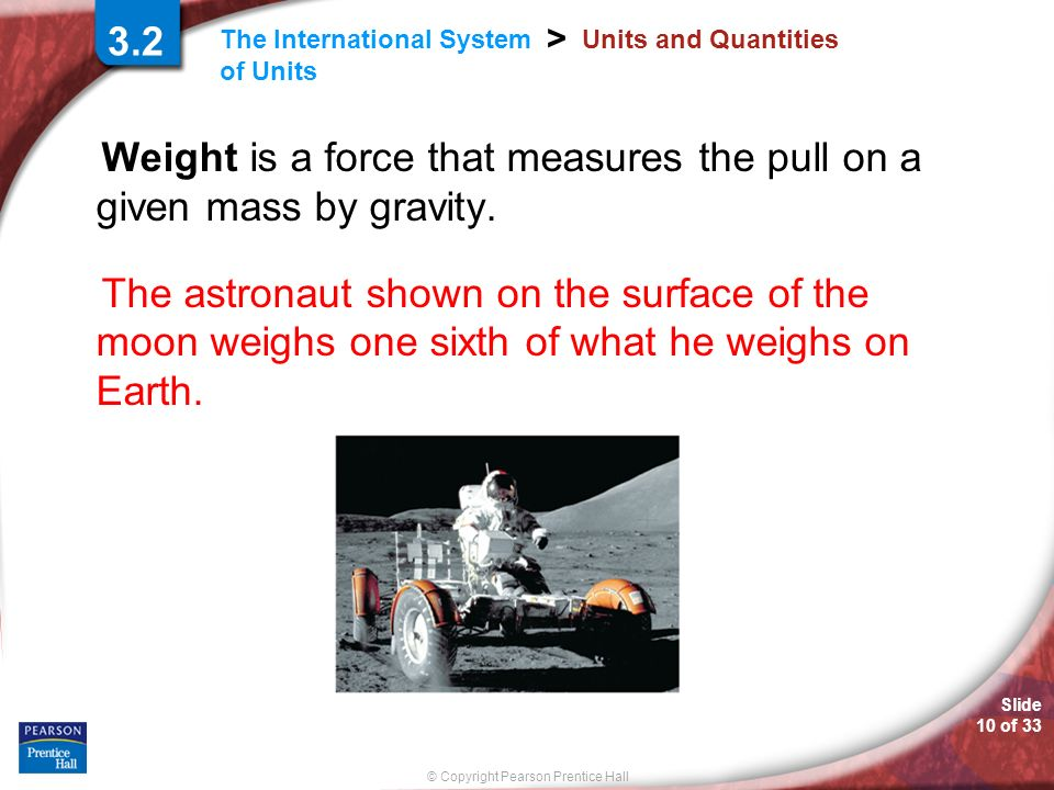 Weight is a force that measures the pull on a given mass by gravity.
