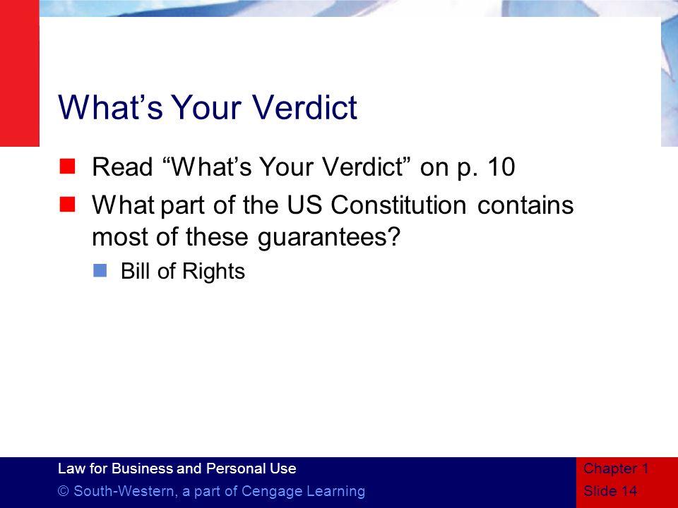 What's Your Verdict Read What's Your Verdict on p. 10