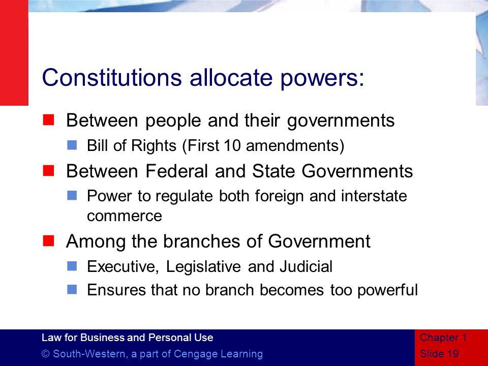 Constitutions allocate powers:
