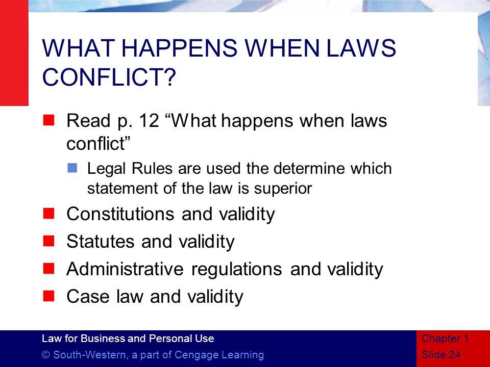 WHAT HAPPENS WHEN LAWS CONFLICT