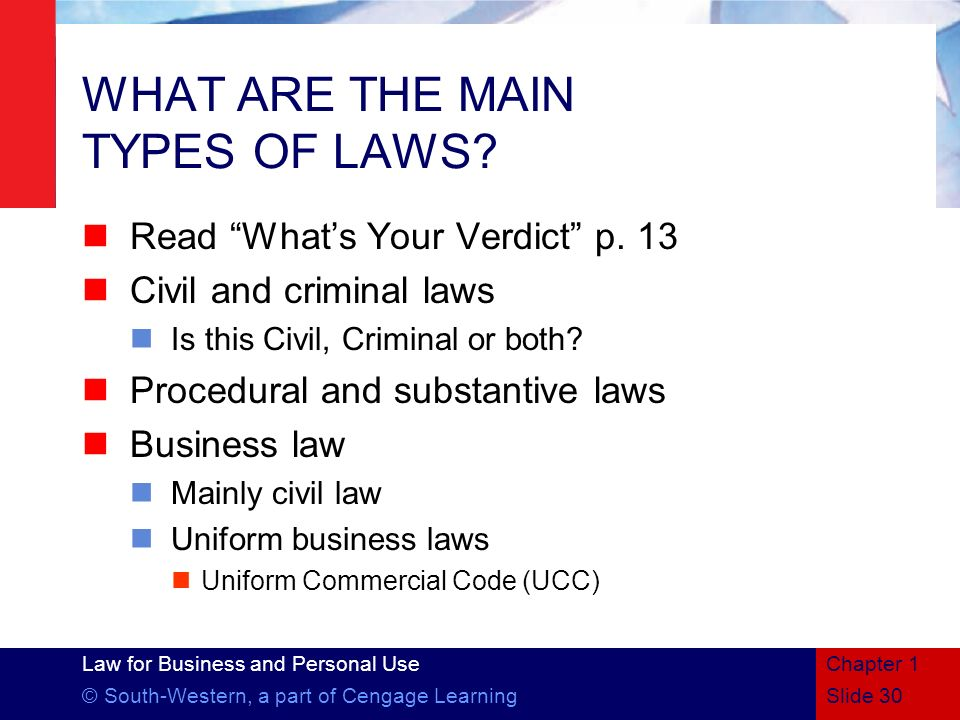 WHAT ARE THE MAIN TYPES OF LAWS