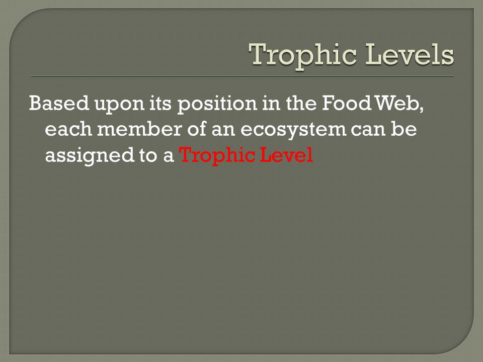 Trophic Levels Based upon its position in the Food Web, each member of an ecosystem can be assigned to a Trophic Level.