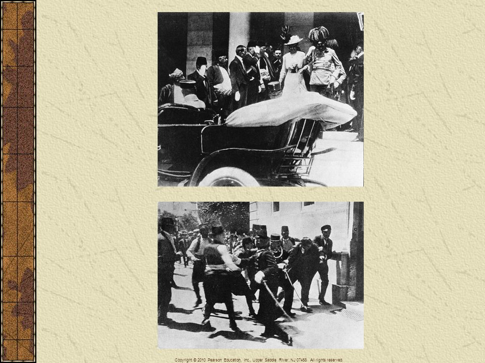 Above: The Austrian archduke Francis Ferdinand and his wife in Sarajevo on June 28, Later in the day the royal couple were assassinated by young revolutionaries trained and supplied in Serbia, igniting the crisis that led to World War I. Below: Moments after the assassination the Austrian police captured one of the assassins.