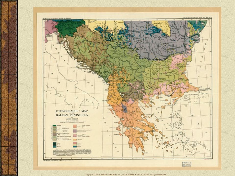 This ethnographic map of the Balkan peninsula, made by a Serbian nationalist named Jovan Cviji´cin in 1918, served as inspiration for the campaign of ethnic cleansing that would devastate the region once known as Yugoslavia.
