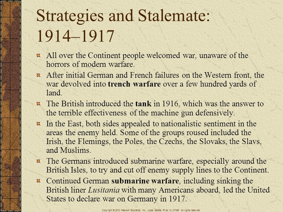 Strategies and Stalemate: 1914–1917