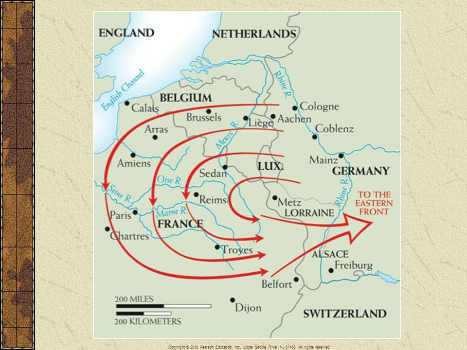 Map 26–2 THE SCHLIEFFEN PLAN OF 1905 Germany's grand strategy for quickly winning the war against France in 1914 is shown by the wheeling arrows on the map. In the original plan, the crushing blows at France were to be followed by the release of troops for use against Russia on Germany's eastern front. The plan, however, was not adequately implemented, and the war on the western front became a long contest in place.