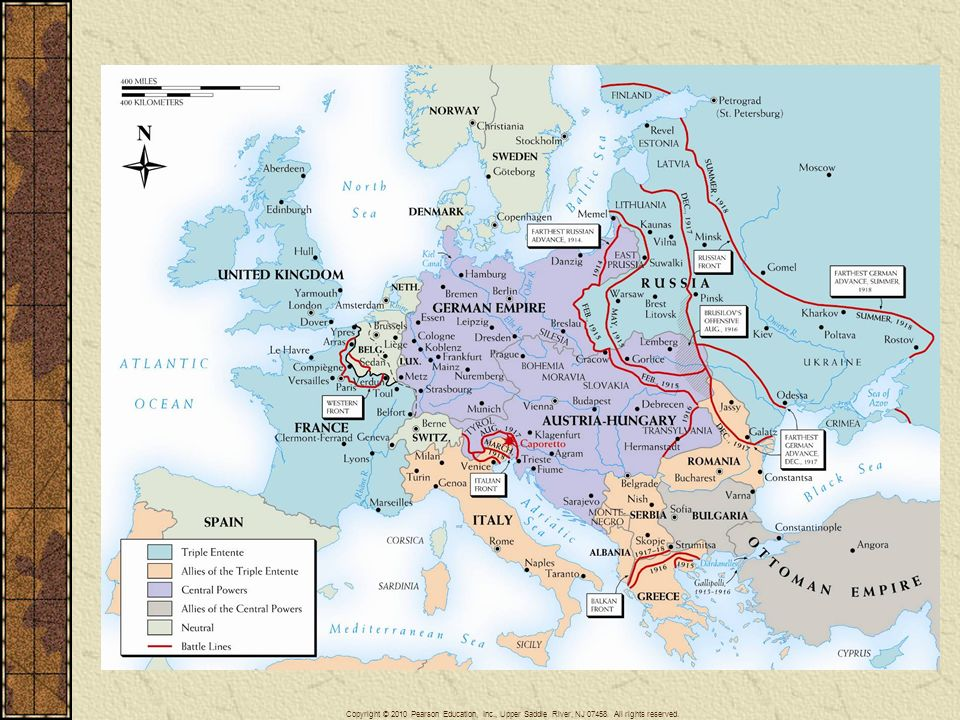 Map 26–3 WORLD WAR I IN EUROPE Despite the importance of military action in the Far East, in the Arab world, and at sea, the main theaters of activity in World War I were in the European areas.
