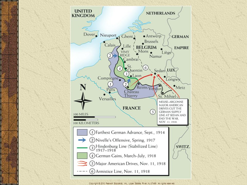 Map 26–4 THE WESTERN FRONT, 1914–1918 This map shows the crucial western front in detail.