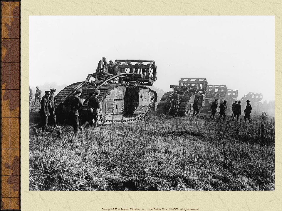 British tanks moving toward the Battle of Cambrai in Flanders late in 1917. Tanks were impervious to machine-gun fire. Had they been used in great numbers, they might have broken the stalemate in the west.