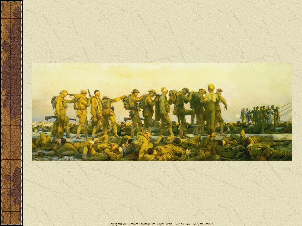 The use of poison gas (by both sides) during the First World War and its dreadful effects—blinding, asphyxiation, burned lungs—came to symbolize the horrors of modern war. This painting shows a group of British soldiers being guided to the rear after they were blinded by mustard gas on the Western Front.