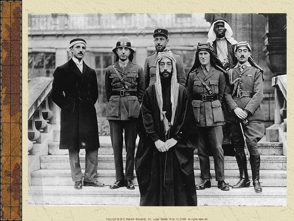 The Allies promoted Arab efforts to secure independence from Turkey in an effort to remove Turkey from the war. Delegates to the peace conference of 1919 in Paris included British colonel T. E. Lawrence, who helped lead the rebellion, and representatives from the Middle Eastern region. Prince Feisal, the third son of King Hussein, stands in the foreground of this picture; Colonel T. E. Lawrence is in the middle row, second from the right; and Brigadier General Nuri Pasha Said of Baghdad is second from the left.