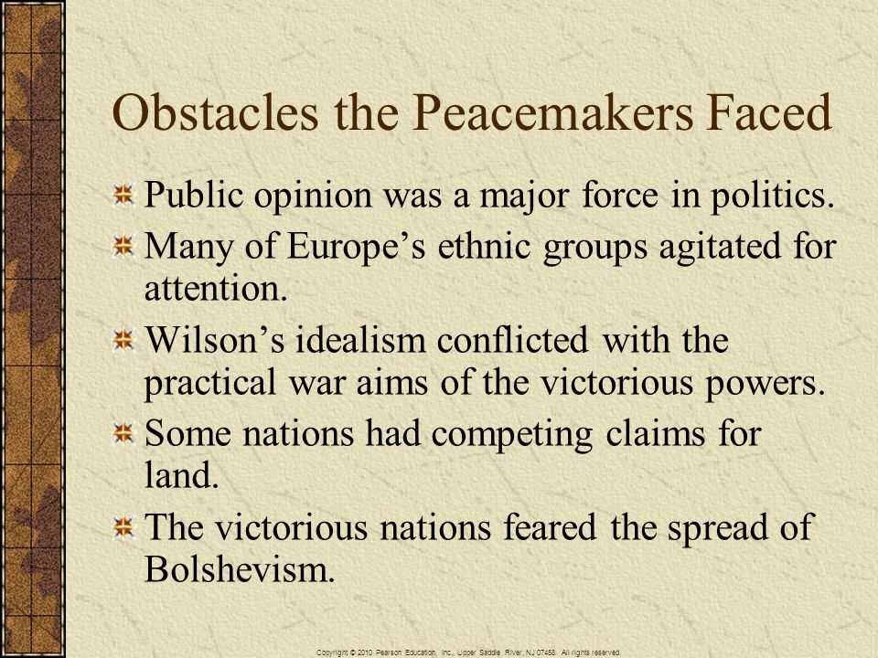 Obstacles the Peacemakers Faced