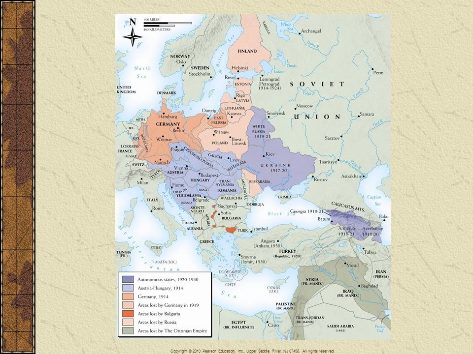 Map 26–5 WORLD WAR I PEACE SETTLEMENT IN EUROPE AND THE MIDDLE EAST The map of central and eastern Europe, as well as that of the Middle East, underwent drastic revision after World War I. The enormous territorial losses suffered by Germany, Austria-Hungary, the Ottoman Empire, Bulgaria, and Russia were the other side of the coin represented by gains for France, Italy, Greece, and Romania and by the appearance or reappearance of at least eight new independent states from Finland in the north to Yugoslavia in the south. The mandate system for former Ottoman territories outside Turkey proper laid foundations for several new, mostly Arab, states in the Middle East. In Africa, the mandate system placed the former German colonies under British, French, and South African rule. (See Map 25–2, page 833.)