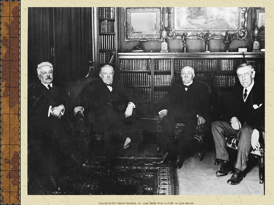 The Big Four attending the Paris peace conference in 1919: Vittorio Orlande, premier of Italy; David Lloyd George, prime minister of Great Britain; Georges Clemenceau, premier of France; and Woodrow Wilson, president of the United States (left to right.). National