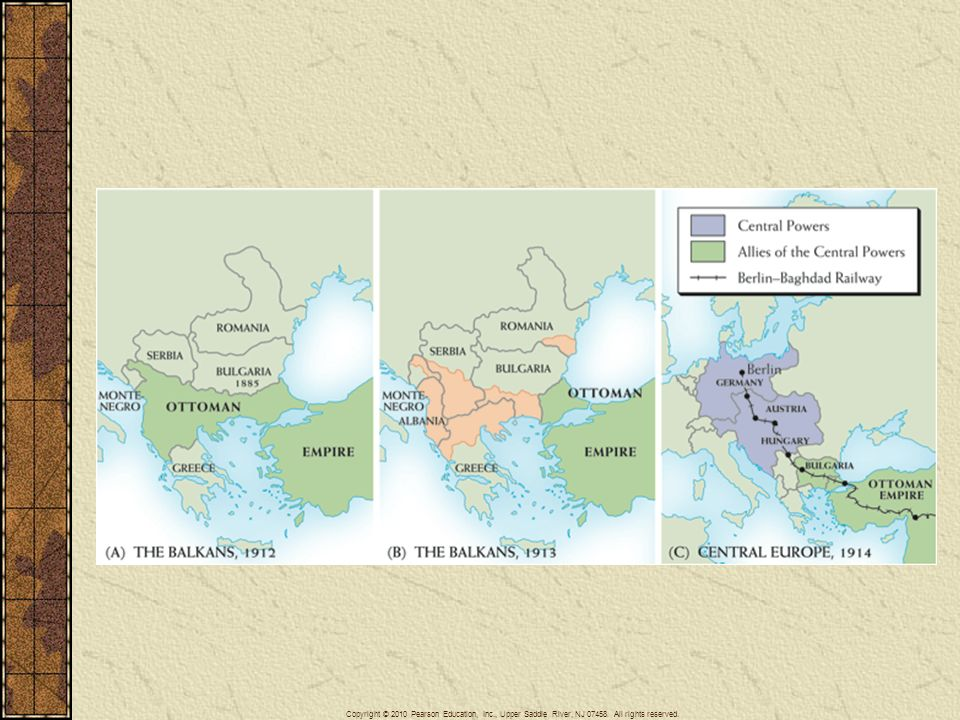 Map 26–1 THE BALKANS, 1912–1913 Two maps show the Balkans (a) before and (b) after the two Balkan wars; note the Ottoman retreat. In (c), we see the geographical relationship of the Central Powers and their Bulgarian and Turkish allies.