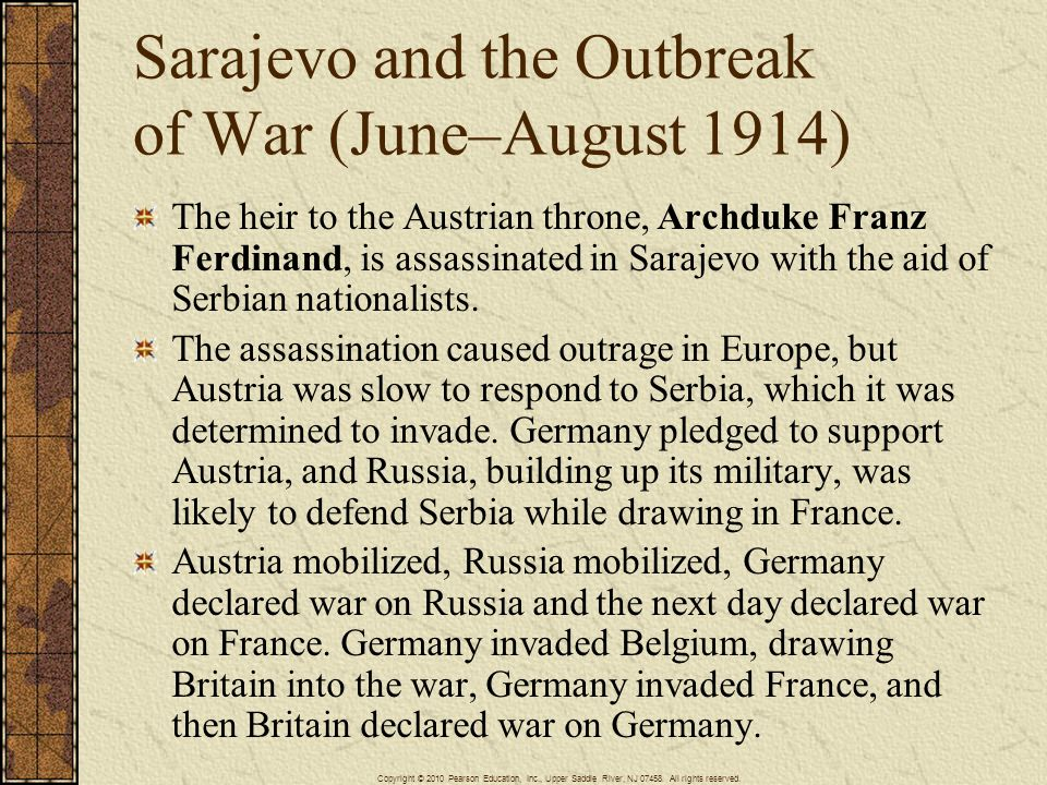 Sarajevo and the Outbreak of War (June–August 1914)