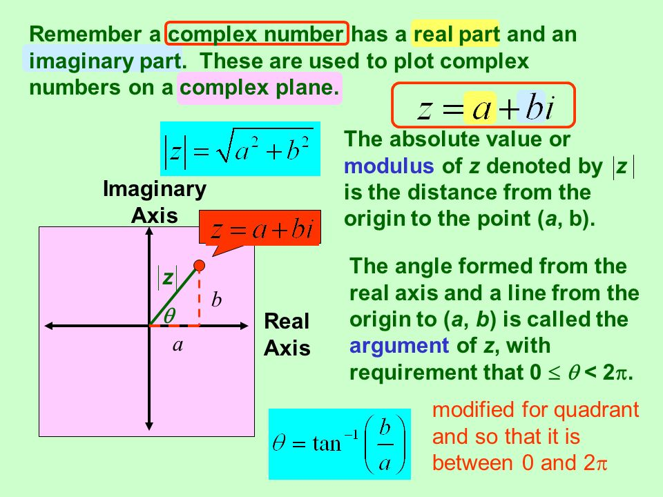 Remember a complex number has a real part and an imaginary part