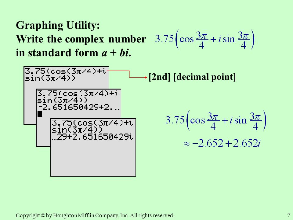 Graphing Utility: Standard Form of a Complex Number