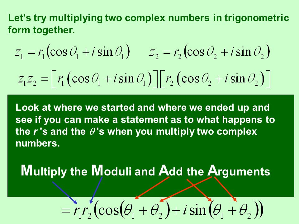 Multiply the Moduli and Add the Arguments