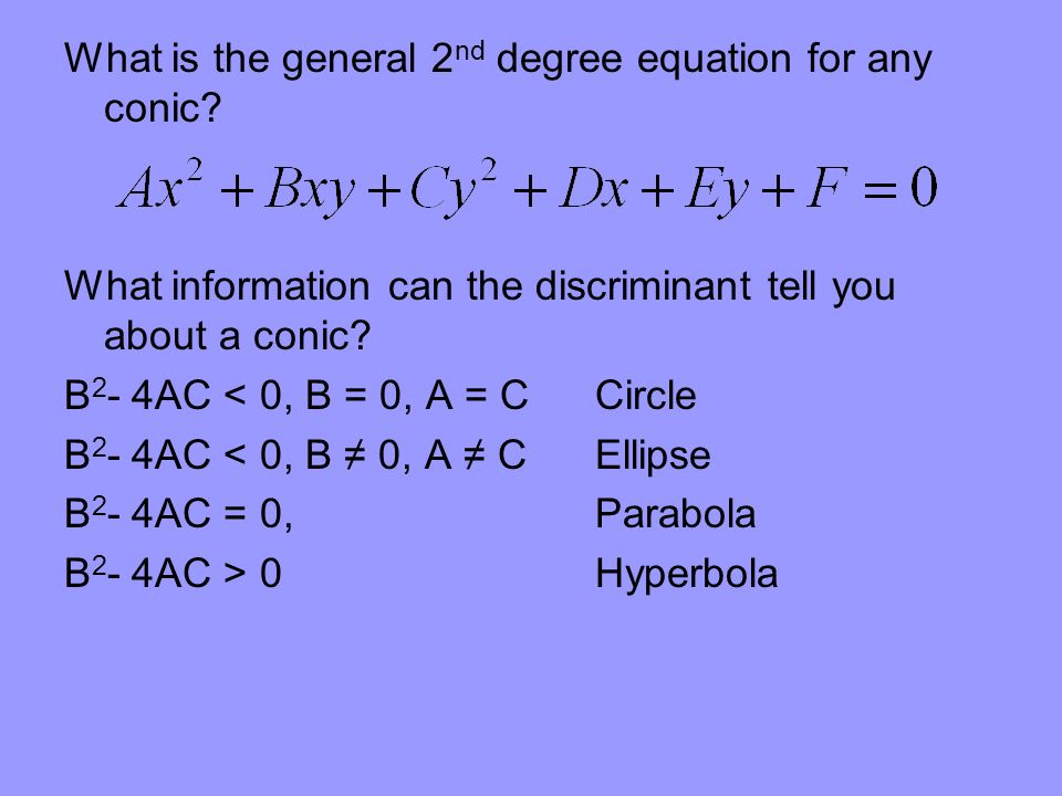 What is the general 2nd degree equation for any conic
