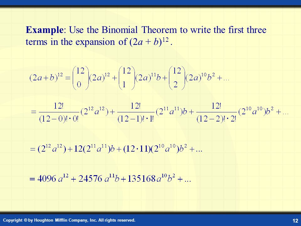 Example:Using the Binomial Theorem