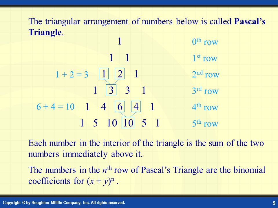 The triangular arrangement of numbers below is called Pascal's Triangle.