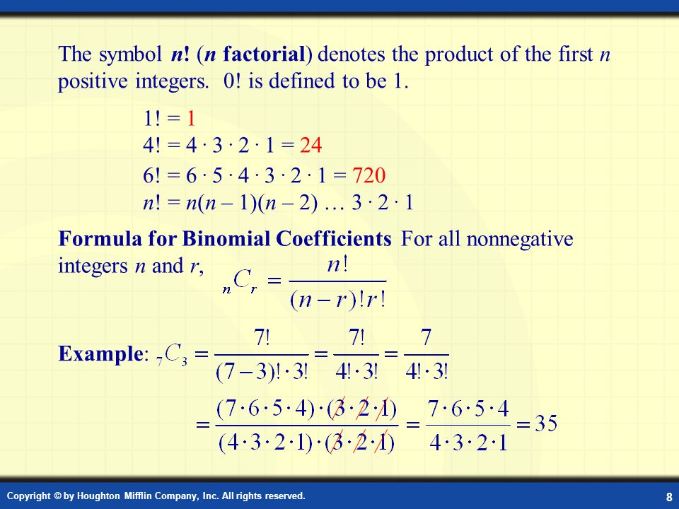 Formula for the Binomial Coefficients